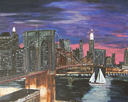 Brooklyn Bridge Painting Originals - NYC Brooklyn Bridge Sunset by David Lambertino