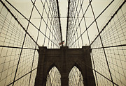 Dekorativ Framed Prints - NYC- brooklyn brige Framed Print by Hannes Cmarits