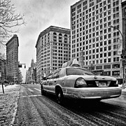 Street Shot Posters - NYC Cab and Flat Iron Building black and white Poster by John Farnan