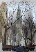 New York Pastels Framed Prints - NYC Central Park 1995 Framed Print by Ylli Haruni