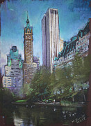 Lake Pastels Posters - NYC Central Park 2 Poster by Ylli Haruni
