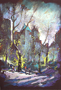 People Pastels Metal Prints - NYC Central Park Controluce Metal Print by Ylli Haruni