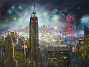 Fireworks Painting Metal Prints - Nyc. Empire State Building Metal Print by Ylli Haruni
