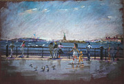 Cities Pastels Prints - NYC Grand Ferry Park 2 Print by Ylli Haruni