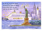 New York State Painting Originals - NYC Harbor Cruise by Audrey Peaty
