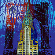 Moon Digital Art Posters - NYC Icons Poster by Gary Grayson