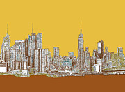 Skyline Drawings Posters - NYC in mustard Poster by Lee-Ann Adendorff