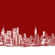 Skyline Drawings Posters - NYC in red n white Poster by Lee-Ann Adendorff