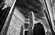 New York City Skyline Digital Art Posters - NYC Looking Up BW10 Poster by Scott Kelley