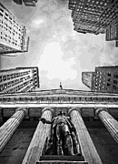 Nyc Digital Art Metal Prints - NYC Looking Up BW16 Metal Print by Scott Kelley