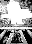 New York Stock Exchange Prints - NYC Looking Up BW3 Print by Scott Kelley
