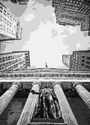 Nyc Digital Art Metal Prints - NYC Looking Up BW6 Metal Print by Scott Kelley