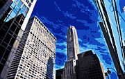 New York City Skyline Digital Art Posters - NYC Looking Up Color 16 Poster by Scott Kelley