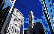 Skylines Digital Art Posters - NYC Looking Up Color 6 Poster by Scott Kelley