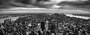 Downtown Framed Prints - NYC Manhattan Panorama Framed Print by Nina Papiorek