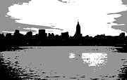 New York City Skyline Digital Art Framed Prints - NYC Morning BW3 Framed Print by Scott Kelley