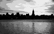 New York City Skyline Digital Art Framed Prints - NYC Morning BW8 Framed Print by Scott Kelley