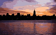 New York City Skyline Digital Art Posters - NYC Morning Color 16 Poster by Scott Kelley