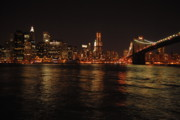 Brooklyn Bridge Prints - NYC Night Print by Maria Lopez