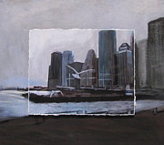 Skyline Mixed Media Posters - NYC Pier 11 layered Poster by Anita Burgermeister