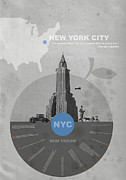 City Scenes Digital Art Metal Prints - NYC Poster Metal Print by Irina  March