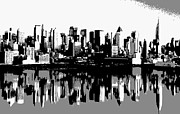 New York City Skyline Digital Art Framed Prints - NYC Reflection BW3 Framed Print by Scott Kelley