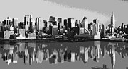 New York City Skyline Digital Art Framed Prints - NYC Reflection BW6 Framed Print by Scott Kelley