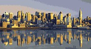 Skylines Digital Art Posters - NYC Reflection Color 16 Poster by Scott Kelley