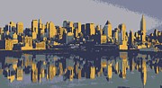 Skylines Digital Art Posters - NYC Reflection Color 6 Poster by Scott Kelley