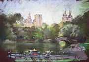Autumn Trees Pastels Prints - NYC Resting in Central Park Print by Ylli Haruni