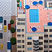 Residential Paintings - NYC Roof Pool by Toni Silber-Delerive