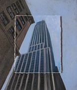 Buildings Mixed Media Originals - NYC Severe Empire layered by Anita Burgermeister