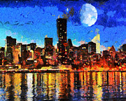 New York City Digital Art Posters - NYC Skyline at Night Poster by Anthony Caruso