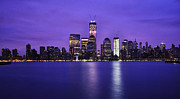 Pink Dawn Posters - NYC Skyline in Blue and Pink Poster by Vicki Jauron