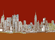 Red Buildings Drawings Framed Prints - NYC skyline in red sepia Framed Print by Building  Art