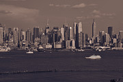Cities Tapestries - Textiles Posters - Nyc Skyline Poster by Kirit Prajapati