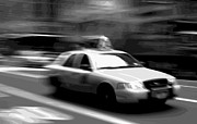 Speeding Taxi Digital Art - NYC Taxi BW16 by Scott Kelley
