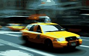 Speeding Taxi Digital Art - NYC Taxi Color 16 by Scott Kelley