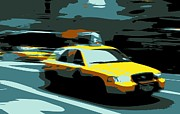 Speeding Taxi Posters - NYC Taxi Color 6 Poster by Scott Kelley