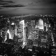 Manhattan Night Framed Prints - NYC Times Square Framed Print by Nina Papiorek