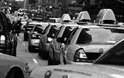 Speeding Taxi Digital Art - NYC Traffic BW16 by Scott Kelley