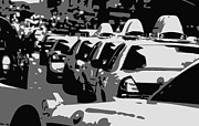 Nyc Taxi Framed Prints - NYC Traffic BW3 Framed Print by Scott Kelley