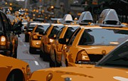 Nyc Taxi Framed Prints - NYC Traffic Color 16 Framed Print by Scott Kelley