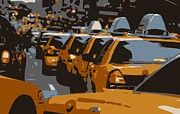 Nyc Taxi Framed Prints - NYC Traffic Color 6 Framed Print by Scott Kelley