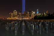 New York City Skyline Art - NYC Tribute Lights - The Pier by Shane Psaltis