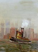 Olive Green Painting Prints - NYC Tug Print by Christopher Jenkins