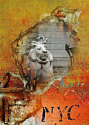 Architecture Mixed Media Prints - NYC Urban Lion Print by AdSpice Studios