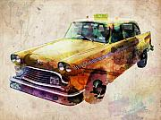 Watercolor Metal Prints - NYC Yellow Cab Metal Print by Michael Tompsett