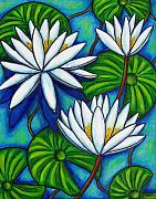 Lily Pond Paintings - Nymphaea Blue by Lisa  Lorenz