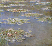 Waterlily Painting Metal Prints - Nympheas Metal Print by Claude Monet